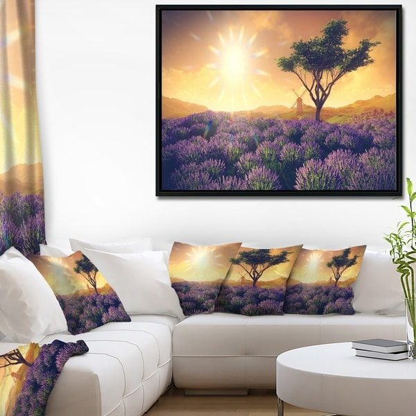 Designart 'Lavender Field with Solitary Tree' Extra Large Landscape Framed Canvas Art