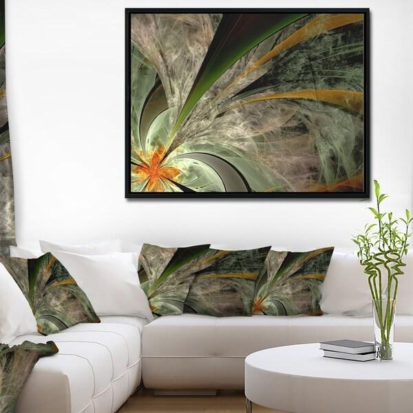 Designart 'Symmetrical Fractal Flower in Green' Floral Framed Canvas Art Print