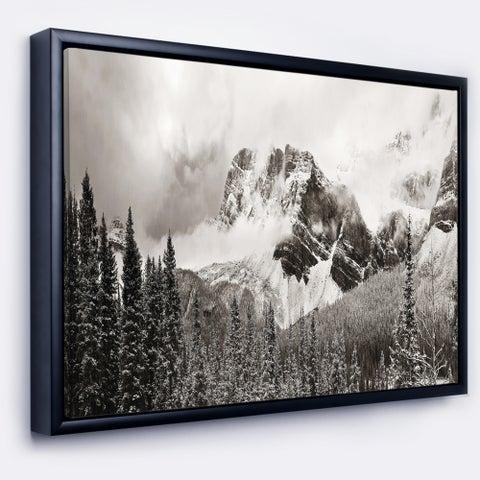 Designart 'Snow Capped Hills and Bow Lake' Landscape Framed Canvas Art Print