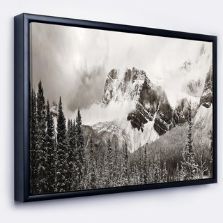 Designart 'Snow Capped Hills and Bow Lake' Landscape Framed Canvas Art Print