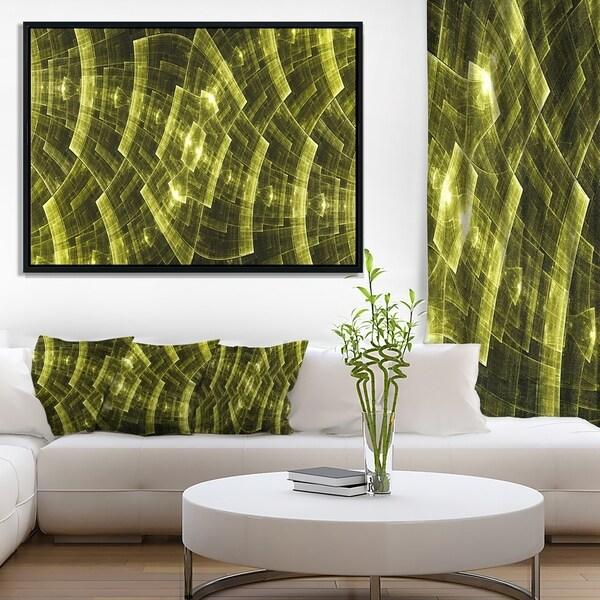 Designart 'Bright Yellow Fractal Flower Grid' Abstract Art on Framed Canvas