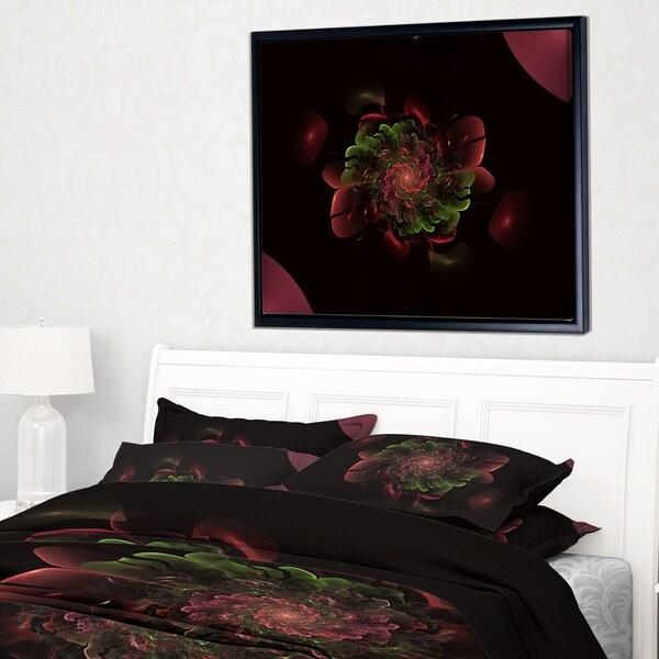 Designart 'Dark Purple Rounded Fractal Flower' Floral Framed Canvas Art Print