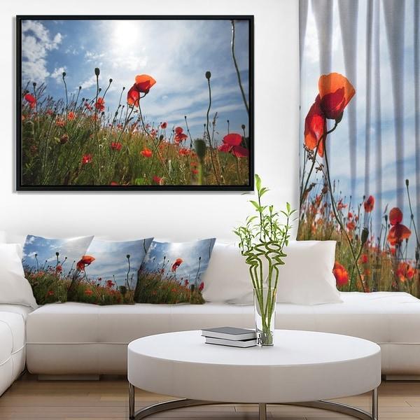 Designart 'Poppy Flower Field View From Ground' Floral Framed Canvas Art Print