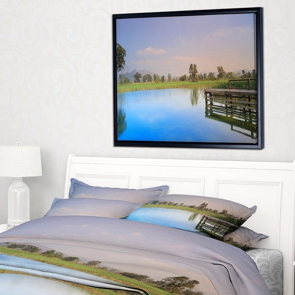 Designart 'Wetland of Nam Sang Wai Blue' Large Seascape Art Framed Canvas Print