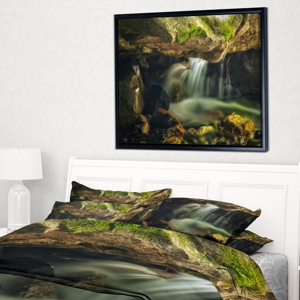 Designart 'Wasatch National Forest Waterfall' Landscape Framed Canvas Art Print