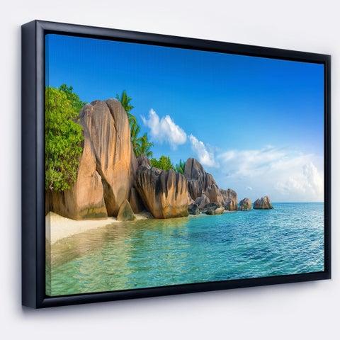 Designart 'Fantastic Seychelles Seashore' Large Seascape Art Framed Canvas Print