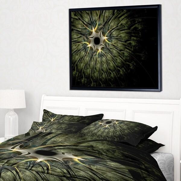 Designart 'Large Symmetrical Fractal Flower Design' Floral Framed Canvas Art Print