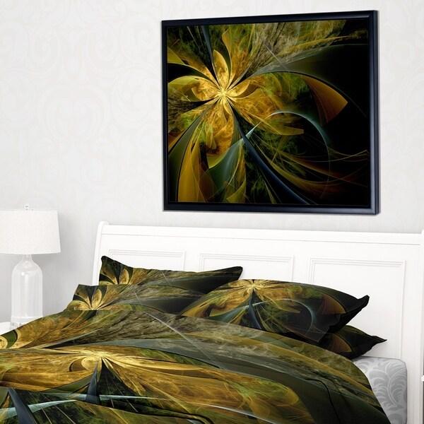 Designart 'Symmetrical Fractal Flower in Gold' Floral Framed Canvas Art Print
