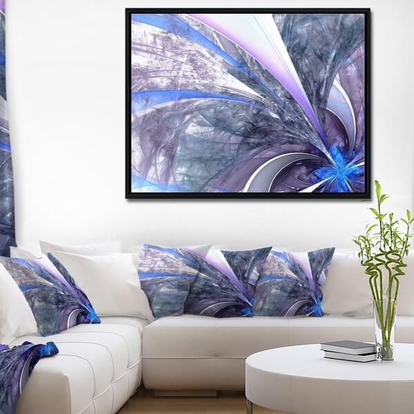 Designart 'Bright Blue Fractal Flower Design' Floral Framed Canvas Art Print