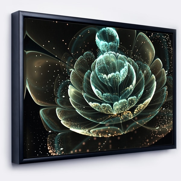 Designart 'Fractal Flower Light Green Digital Art' Floral Framed Canvas Art Print