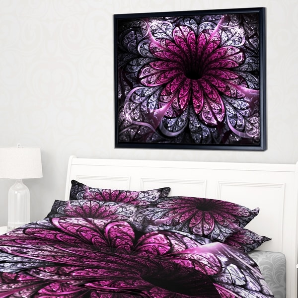 Designart 'Dark Purple Fractal Flower Digital Art' Floral Framed Canvas Art Print