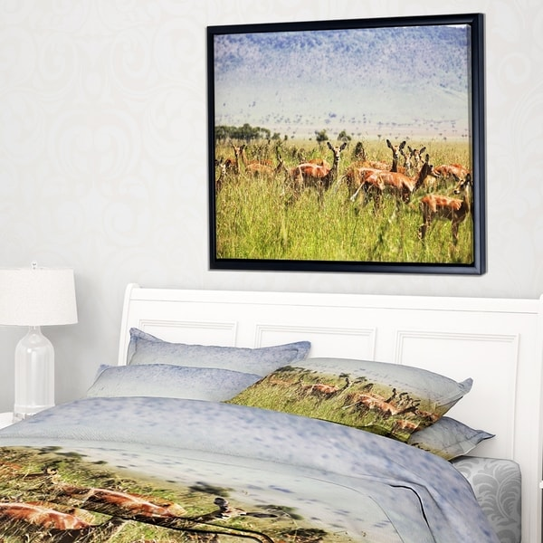 Designart 'Beautiful Antelope in Grass' African Landscape Framed Canvas Art Print