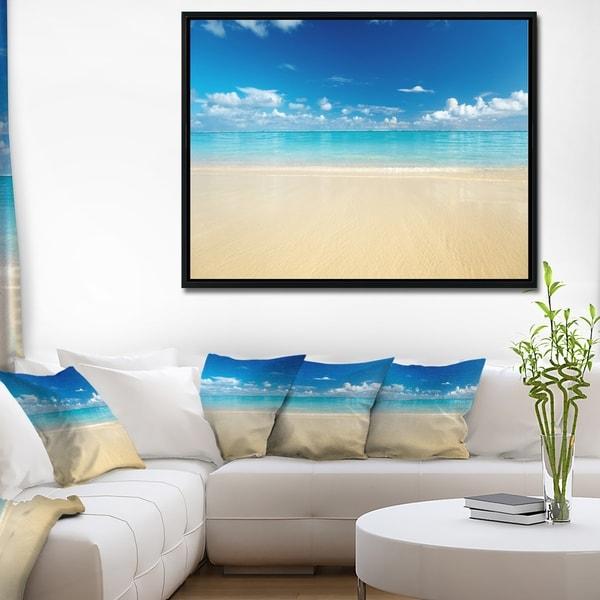 Designart 'Sand of Beach in Calm Caribbean Shore' Modern Seascape Framed Canvas Artwork