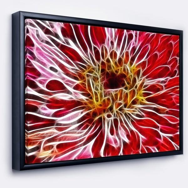 Designart 'Dark Red Digital Art Fractal Flower' Floral Framed Canvas Art Print