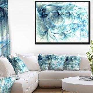 Designart 'Light Blue Fractal Flower Soft Pattern' Floral Framed Canvas Art Print