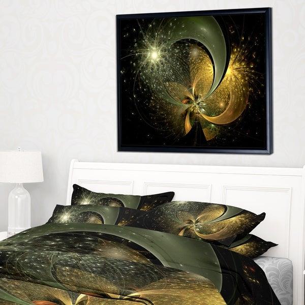 Designart 'Golden Fractal Flower with Silver Star' Floral Framed Canvas Art Print
