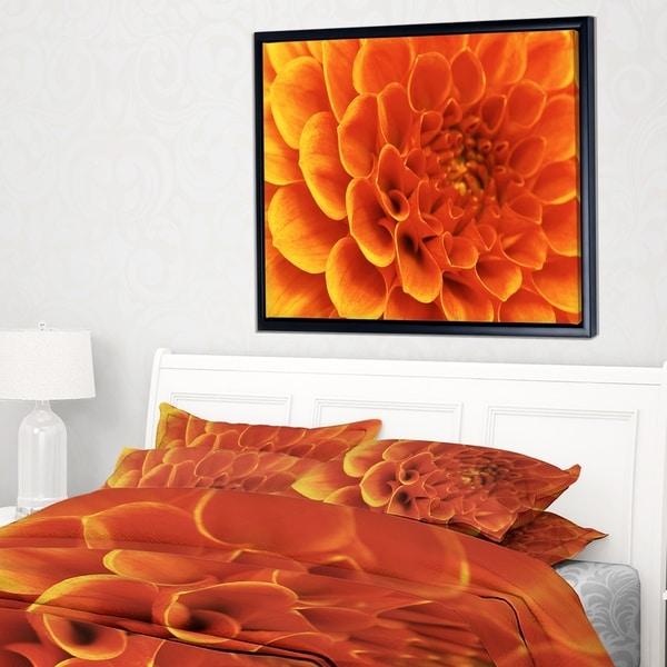 Designart 'Large Orange Flower and Petals' Floral Framed Canvas Art Print