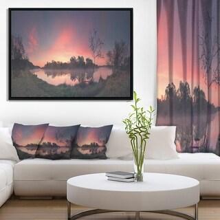 Designart 'Purple Tinged Spring Mountains' Landscape Artwork Framed Canvas