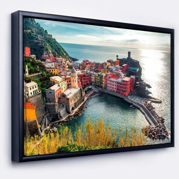 Designart 'Vernazza Bay Aerial View' Large Seascape Art Framed Canvas Print