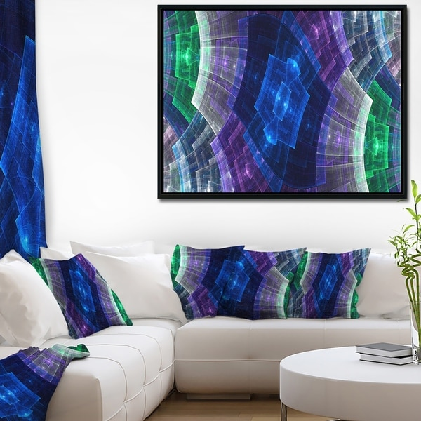 Designart 'Bright Blue and Green Flower Grid' Abstract Art on Framed Canvas