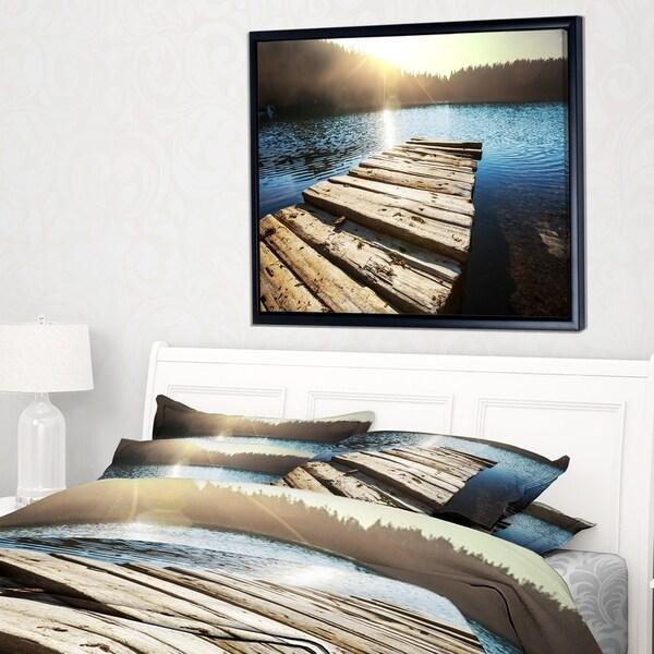 Designart 'Large Wooden Pier into the Lake' Seashore Framed Canvas Art Print