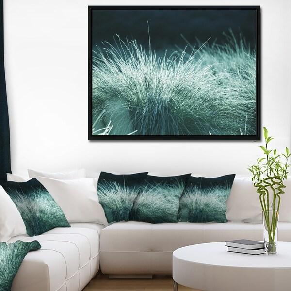 Designart 'Wet Green Grass in Downpour' Oversized Landscape Framed Canvas Art