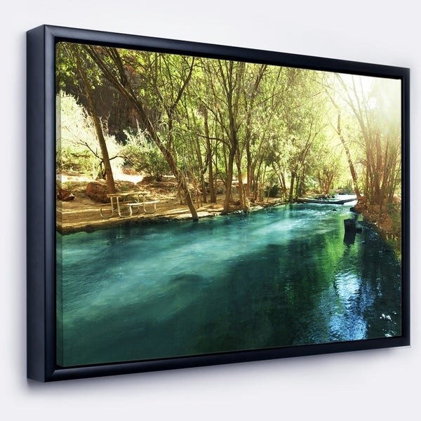 Designart \'Beautiful Small River in Forest\' Landscape Framed Canvas ...