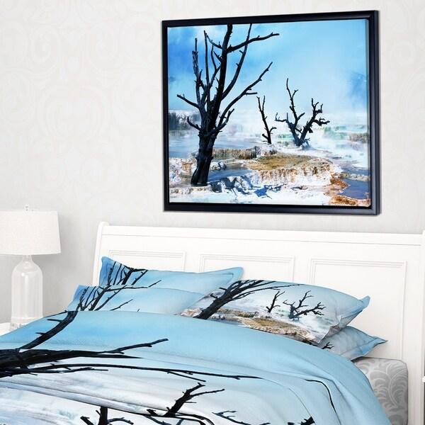 Designart 'Beautiful Land with Large Dry Trees' Extra Large Landscape Framed Canvas Art