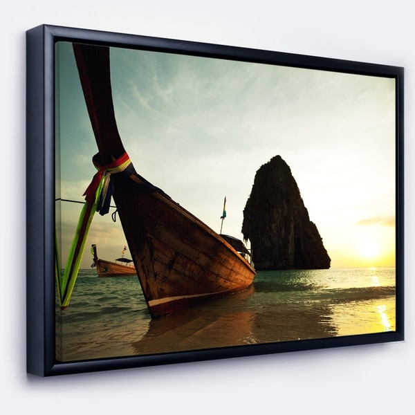 Designart 'Tropical Beach with Huge Boat' Seashore Framed Canvas Art Print