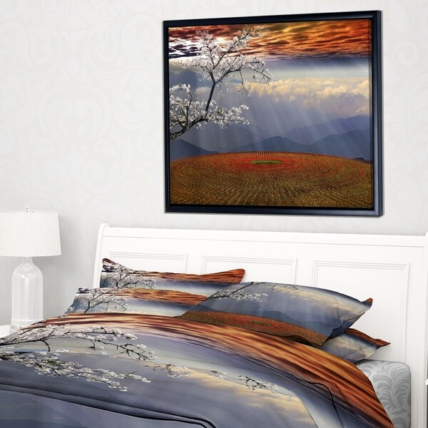 Designart 'Beautiful Flower Field At Sunset' Extra Large Landscape Framed Canvas Art