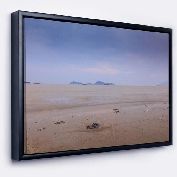 Designart 'Soft Blue Sunset at Lung Kwu Tan Beach' Landscape Artwork Framed Canvas