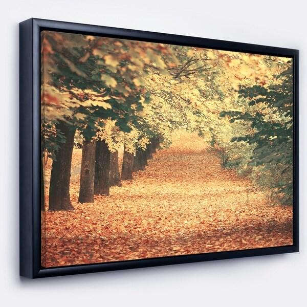 Designart 'Autumn Forest with Walking Path' Modern Forest Framed Canvas Wall Art