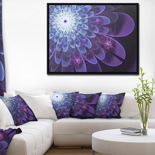 Designart 'Purple Fractal Flower Petals Close up' Floral Framed Canvas Art Print