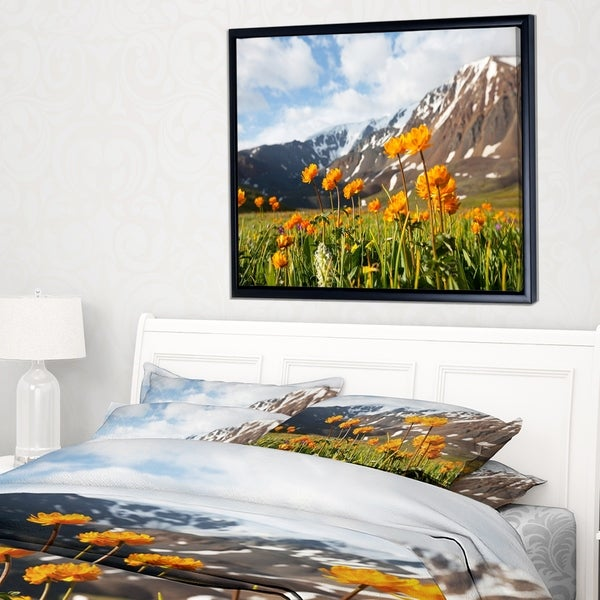 Designart 'Mountain Meadow with Yellow Flowers' Large Flower Framed Canvas Art Print