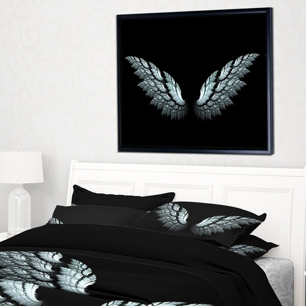 Designart 'Angel Wings on Black Background' Abstract Framed Canvas Art Print