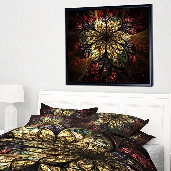 Designart 'Fractal Flower Yellow Red Digital Art' Large Flower Framed Canvas Wall Art