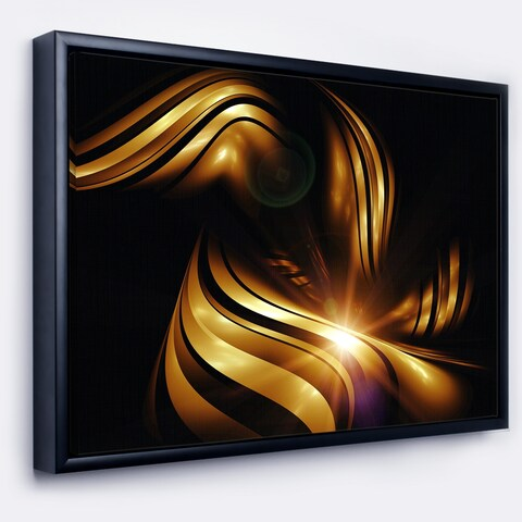 Designart 'Abstract Gold Fractal Background' Contemporary Abstract Framed Canvas