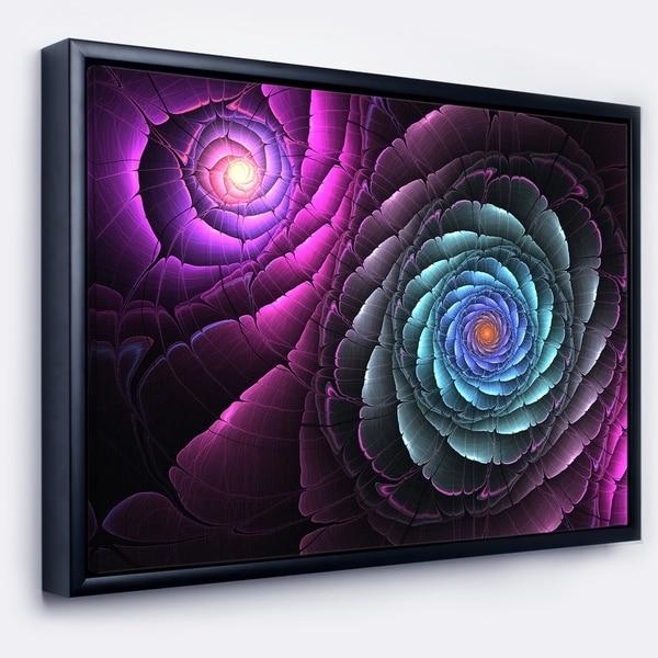 Designart 'Fractal Blue Purple Flower Digital Art' Floral Framed Canvas Art Print