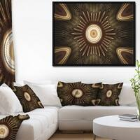 Designart 'White Brown Rounded Fractal Flower' Floral Framed Canvas Art Print