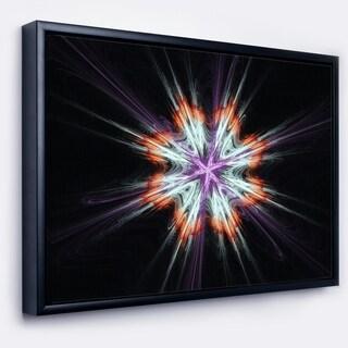 Designart 'Abstract Flowers on Black Background' Flower Artwork on Framed Canvas