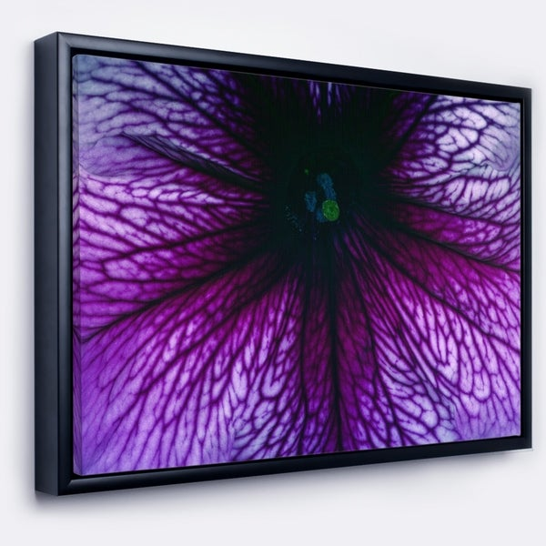 Designart 'Abstract Purple Floral Design' Floral Framed Canvas Art Print