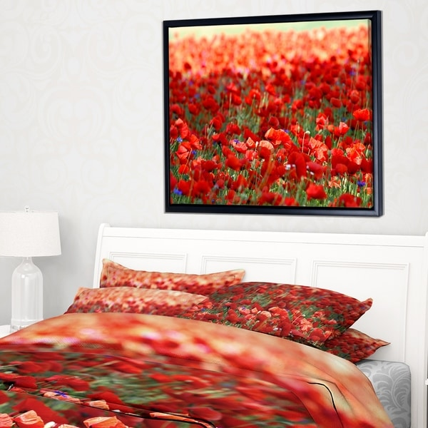 Designart 'Thick Red Poppy Flower Field' Floral Framed Canvas Art Print