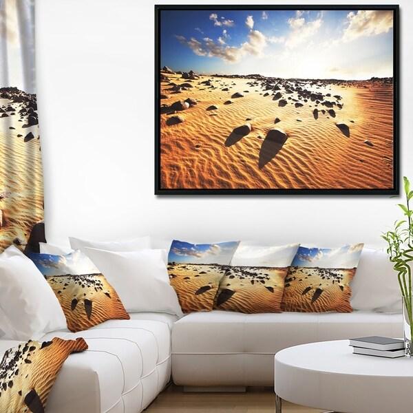 Designart 'Beautiful Rocky Sand Desert' African Landscape Framed Canvas Art Print