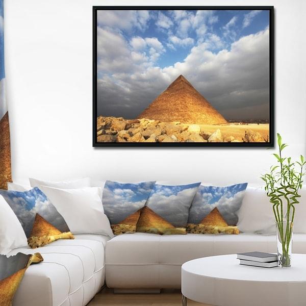 Designart 'Egyptian Pyramid under Bright Sky' Oversized African Landscape Framed Canvas Art
