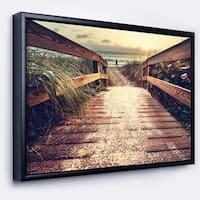 Designart 'Vintage Wooden Bridge To Seashore' Seashore Framed Canvas Art Print