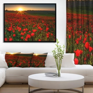 Designart 'Sunset over Garden with Red Poppies' Floral Framed Canvas Art Print