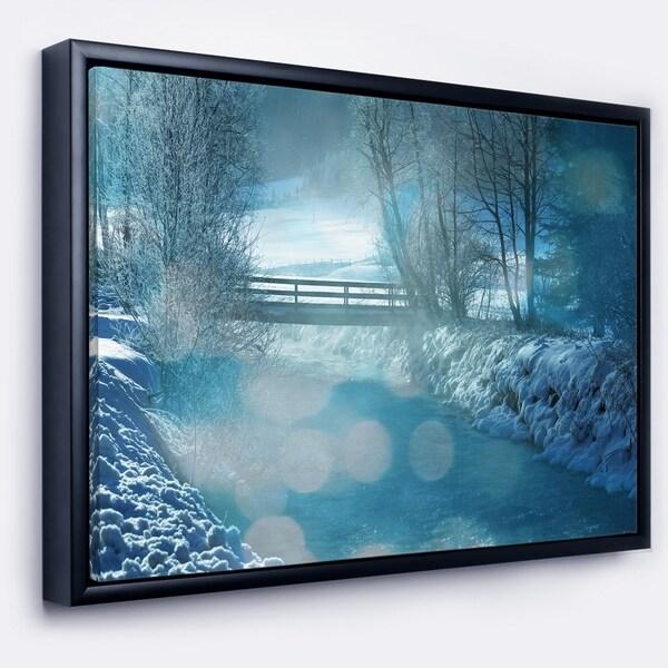 Designart 'Beautiful Winter River View' Oversized Landscape Framed Canvas Art
