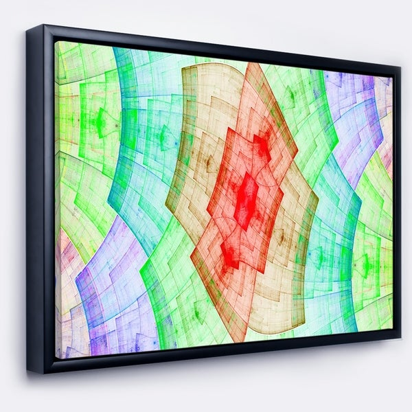 Designart 'Light Red and Green Flower Grid' Abstract Art on Framed Canvas