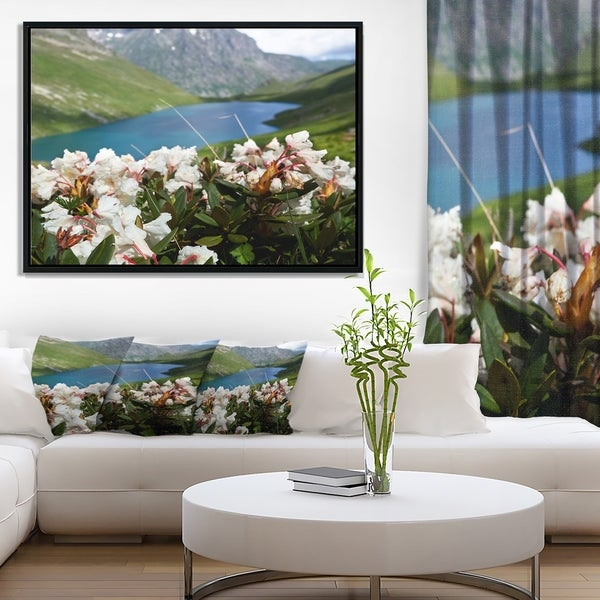 Designart 'Mountains Lake with White Flowers' Large Flower Framed Canvas Art Print