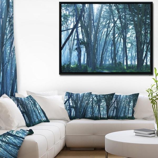 Designart 'Dense Rain Forest on Foggy Day' Oversized Landscape Framed Canvas Art